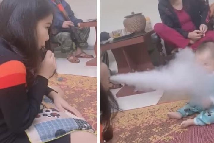 Bức xúc clip người phụ nữ hút thuốc điện tử, nhả khói nhiều lần vào mặt em bé