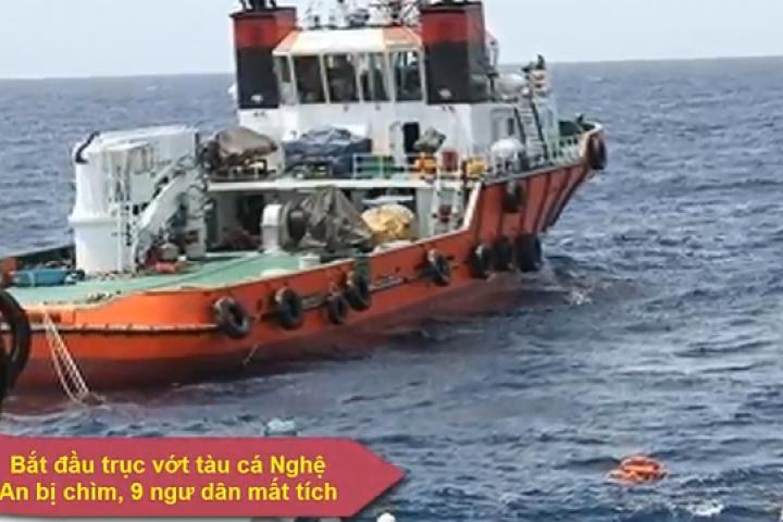 Bắt đầu trục vớt tàu cá Nghệ An bị chìm, 9 ngư dân mất tích